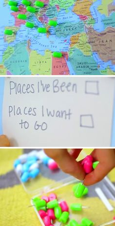 Places I Want to Go Map | Click Pic for 20 Cool DIY Projects for Teen Girls Bedrooms | Easy Crafts for Teen Girls to Make