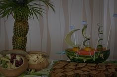 Buffet menu and decorations