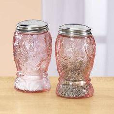 PINK DEPRESSION GLASS DESIGN SALT and PEPPER SHAKER SET strawberry floral