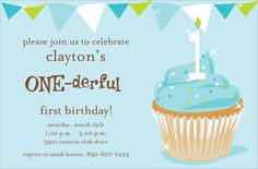 One-derful Boy Birthday Invitations