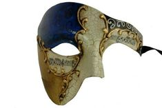 Gold Lining Musical Blue Venetian Half Masquerade Mask Phantom Design by Chom >>> Visit the image link more details. (This is an affiliate link) #FaceTreatmentandMasks