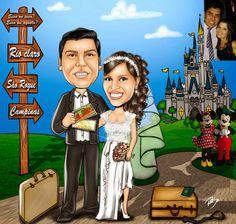 Caricaturas digitais, desenhos animados, ilustração, caricatura realista: Presente para casamento !!
