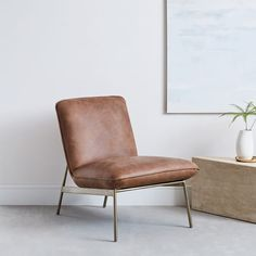 Leather pillow lounge chair