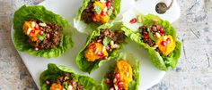 Spiced Lamb Lettuce Cups with Just Hummus roasted carrot & honey
