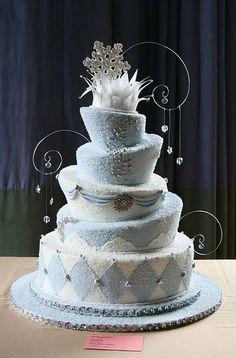 Winter wonderland wedding cake by Elegant Treats By Farnaz (4/20/2012) View cake details here: http://cakesdecor.com/cakes/12703