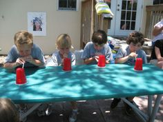 Minute to Win It games are PERFECT for kids!  They are fun, challenging, and obviously don't last very long!  A very accommodating quality for those short-attention-spanners!