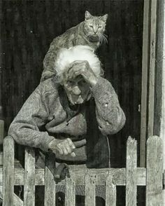 Old woman and her cat