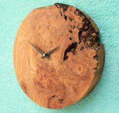 Round Rustic Burr Oak Wall Clock
