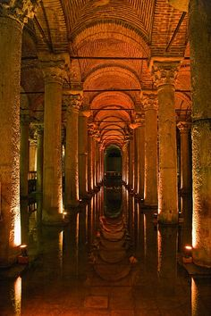 Basilica Cistern - hidden beneath the city of Istanbul, Turkey. Istanbul previously Constantinople , conquered 500 years ago, is a city where East meets West. Places To Travel, Places To See, Travel Destinations, Travel Around The World, Around The Worlds, Capadocia, Hagia Sophia, Turkey Travel, Beautiful Architecture