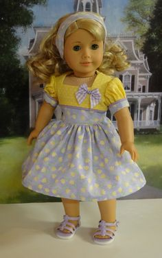 Spring Tulips - vintage style dress for American Girl American Girl Doll Shoes, American Girl Dress, American Doll Clothes, Ag Doll Clothes, American Girls, Doll Dresses, Doll Outfits, Girls Dresses, Summer Dresses