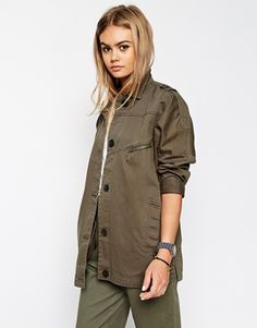 ASOS Jacket With Utility Detail In Washed Cotton
