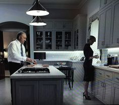 """'House of Cards"""" Answers Question: Where Should A Backsplash End? Claire Underwood Style, Frank Underwood, Big Design, House Design, Decorating Above Kitchen Cabinets, Black Kitchen Island, Kitchen Backsplash, Backsplash Design, Backsplash Ideas"""