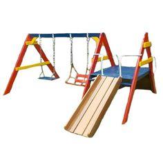 Playground de Madeira - Meu Primeiro Play Diy Playground, Preschool Playground, Playground Flooring, Backyard Swing Sets, Fire Pit Backyard, Backyard For Kids, Swing Set Kits, Outdoor Gym Equipment, Outdoor Play Areas