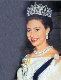 Princess Royal Margaret in Poltimore Tiara and the Teck Circle Tiara as a necklace...