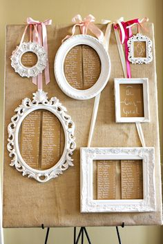 Wedding seating plan.  Burlap, ribbon, frames. Photo by Ann Wade Parrish