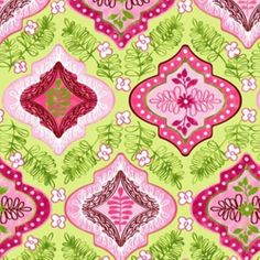 Fabriquilt Pretty in Pink Floral Tile Lime Green Quilt, Green Fabric, Fabric Crafts, Sewing Crafts, Timeless Treasures Fabric, Cushion Fabric, Cotton Quilts, Bright Pink, Damask