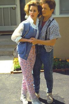 Claudia Wells-personalized photo of Jennifer Parker and Marty McFly in an embrace. 80s Movie Costumes, 80s Costume, 80s Movies, Marty Mcfly Costume, 80s Theme Party Outfits, Decade Day, Geek Underwear, Military Ball Dresses, 80s Outfit