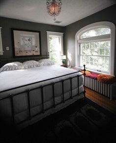 Metal bed frame...also a lovely house tour
