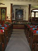 Aisle view of the Heislerville United Methodist Church, Heislerville, New Jersey <3
