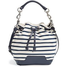 Rebecca Minkoff 'Fiona' Bucket Bag ($137) ❤ liked on Polyvore featuring bags, handbags, shoulder bags, rebecca minkoff shoulder bag, drawstring bucket bag, over the shoulder purse, drawstring handbags and shoulder strap bag