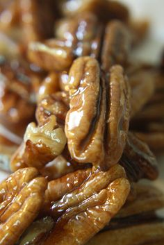 "Candied pecans. If you make these to just ""have on hand"", you will soon become famous with your friends!"