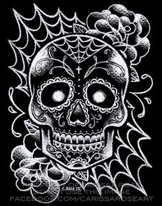Sugar Skull Tattoo Art Signed Print - Black and White Day of the Dead Sugar Skull Tattoo Flash Wall Art Drawing 5x7, 8x10, or Apprx 11x14 In...