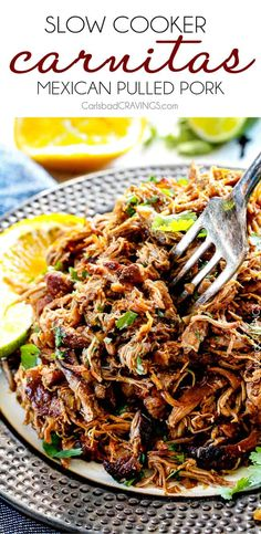 Pork Carnitas (Slow Cooker Mexican Pulled Pork) Super juicy, easy and so much more flavorful than other versions I've tried and the crispy burnt ends are the best! Great for large crowds and for tacos, burritos, or nachos! Mexican Pulled Pork, Pulled Pork Tacos, Pulled Pork Recipes, Mexican Pork Tacos, Shredded Pork Tacos, Slow Cooker Pulled Pork Recipe, Easy Pulled Pork, Slow Cooked Pulled Pork, Pulled Chicken