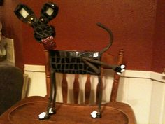Painted and Mosaic Metal Dog