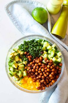 This Cucumber Avocado Salad has the most delicious spicy crispy chickpeas in them! A nutritionally balanced salad to take to work for lunch or enjoy for dinner (preferably outside and with friends) Cucumber Avocado Salad, Crispy Chickpeas, Spicy, Beans, Prayers