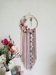 Items similar to Baby pink flowery Dream Catcher on Etsy Diy Crafts Hacks, Diy Home Crafts, Diy Crafts To Sell, Pom Pom Crafts, Yarn Crafts, Dream Catcher Decor, Dream Catcher Mobile, Macrame Wall Hanging Diy, Macrame Design