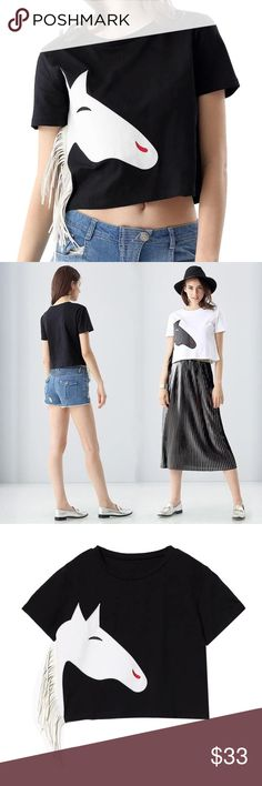 "Spring Trend T-shirt just so chic and trendy. One size. Bust: 37.7"", Length; 18.8"", Shoulders; 15"". Black and white color. Tops Crop Tops"