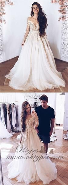 Unique Prom Dresses, White tulle lace long prom dress, white lace evening dress, There are long prom gowns and knee-length 2020 prom dresses in this collection that create an elegant and glamorous look Prom Dresses Long With Sleeves, A Line Prom Dresses, Tulle Prom Dress, Lace Evening Dresses, Tulle Lace, Ball Dresses, Elegant Dresses, Lace Dress, Ball Gowns