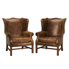 Outstanding Pair of Vintage Distressed Leather Wing Back Chairs  1stdibs.com