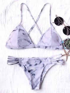 Tie Dyed Thong Bikini - LIGHT PURPLE S Mobile
