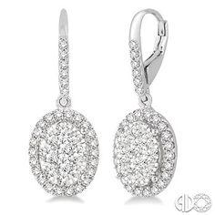 3/4 Ctw Oval Shape Diamond Love Bright Earrings in 14K White Gold