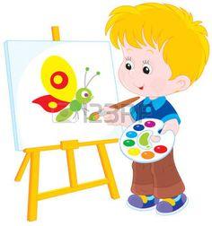 Boy hacer un dibujo con una mariposa divertida photo