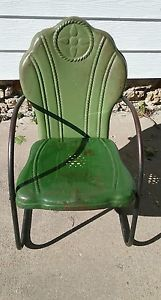 Pre WW2 Interstate vintage metal lawn chair.  See the history at www.midcenturymetalchairs.com