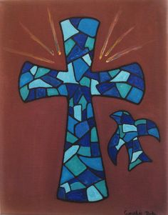 Cross oil painting on canvas blue stained glass by heartChicago, $45.00