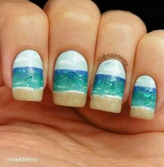 28 Colorful Nail Art Designs That Scream Summer - Beach Nails Beach Nail Art, Beach Nail Designs, Beach Nails, Cute Nail Designs, Beach Art, Ocean Beach, Summer Beach, Beach Design, Summer Nail Art