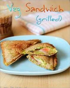 Veg grilled sandwich recipe with Indian touch ~ potato and green chutney