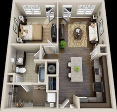 one bedroom house plans One Bedroom House Plans, 1 Bedroom House, Sims House Plans, One Bedroom Apartment, Small House Plans, House Floor Plans, One Bedroom Flat, Dream Apartment, Apartment Layout