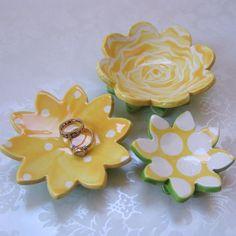 ceramic dish set of 3 ceramic dishes :) yellow rose pottery ring dish, soap dish, candle holder