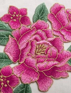 Japanese Embroidery Flowers Image large - Full Bloom Peony patch Flower patch sew on patch embroidered patch applique Size : 16 cm X cm Quantity : 1 patch Hand Embroidery Flowers, Flower Embroidery Designs, Silk Ribbon Embroidery, Crewel Embroidery, Hand Embroidery Patterns, Embroidery Kits, Machine Embroidery Designs, Embroidery Needles, Embroidery Supplies