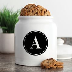 Circle Initial Personalized Cookie Jar - Treat Jars   Personalized Planet
