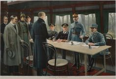 Senior German and Allied commanders and politicians sign the Armistice ending the war in a railway car near Compiègne, France, early on the morning of 11 November 1918. Field Marshal Ferdinand Foch, the Allied supreme commander (centre), stands to accept the German surrender. In 1940, during the Second World War, Adolf Hitler demanded France's surrender in the same railway car.