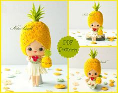 PDF. Pineapple girl. Plush Doll Pattern, Softie Pattern, Soft felt Toy Pattern.