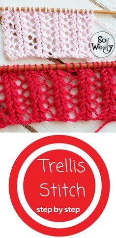 The Trellis stitch is an easy and very stylized, vintage lace stitch, for winter or summer garments #lace #lacelover #knittinglace #laceknitting #stitchpatterns #learntoknit #sowoolly #knittingpatterns #stepbystep #freepattern #tricot #howtoknit #howtoknitlace #easypatterns #easystitchpattern #trellis #trellisstich