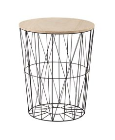 JANET metal and wood side table in black D 43cm