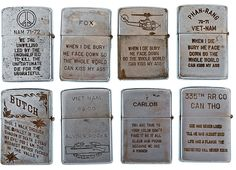 Engraved Zippo lighters owned by soldiers during Vietnam
