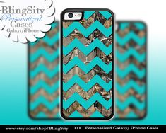 Monogram iPhone 5C 6 6 Plus Case Camo Aqua Chevron iPhone 5s iPhone 4 case Ipod 4 5 case Real Tree Personalized Country Inspired Girl by BlingSity